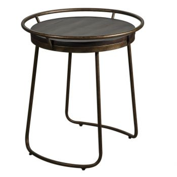 """Uttermost Rayen 22"""" Accent Table in Burnished Antique Copper/Rich Walnut"""