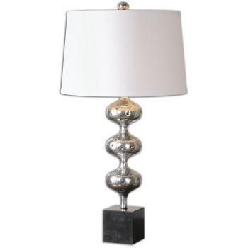 Uttermost Cloelia Table Lamp in Antique Polished Silver/Black Marble