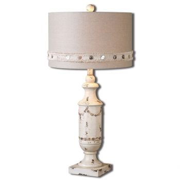 "Uttermost Lacedonia 31"" Table Lamp in Distressed Aged Ivory"