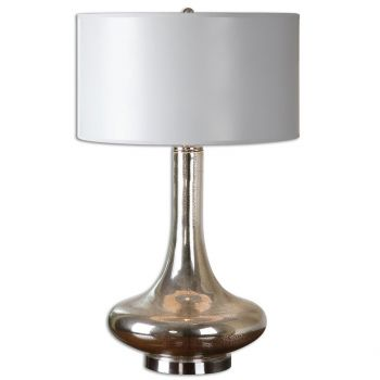 """Uttermost Fabricius 30"""" Mercury Glass Table Lamp in Brushed Nickel"""