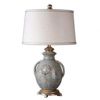 "Uttermost Cancello 28.5"" Table Lamp in Distressed Blue"