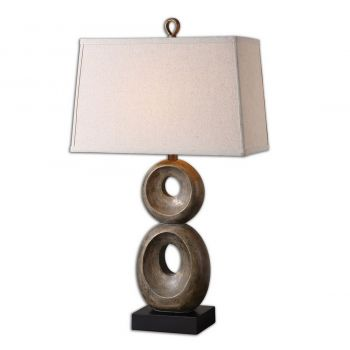 """Uttermost Osseo 31.5"""" Table Lamp in Distressed Dusty Gray/Matte Black"""
