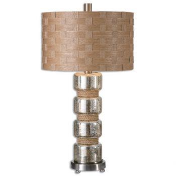 "Uttermost Cerreto 27.5"" Mottled Mercury Glass Lamp in Brushed Nickel"