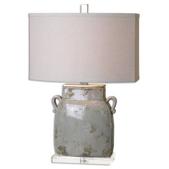 "Uttermost Melizzano 25.25"" Table Lamp in Ivory/Gray"