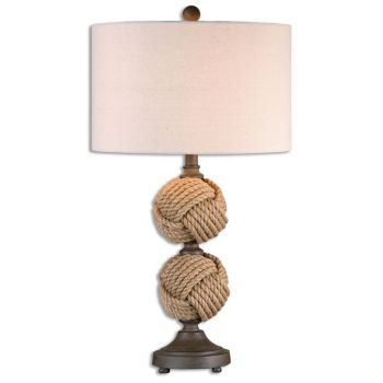 """Uttermost Higgins 29"""" Rope Spheres Table Lamp in Rust Brown"""