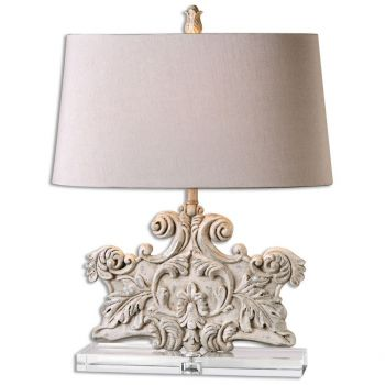 "Uttermost Schiavoni 24.5"" Table Lamp in Distressed Stone Ivory Wash"