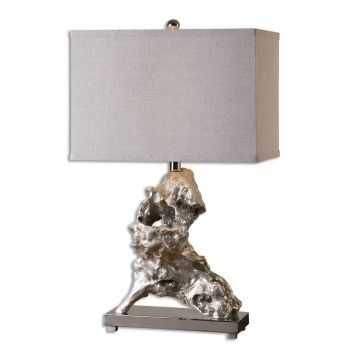 Uttermost Rilletta Faux Driftwood Table Lamp in Metallic Silver Leaf