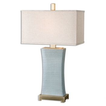 """Uttermost Cantarana 29"""" Table Lamp in Pale Blue Gray /Coffee Bronze"""