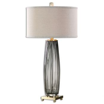 """Uttermost Vilminore 33.25"""" Gray Glass Table Lamp in Antique Brass"""
