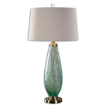 "Uttermost Lenado 32.75"" Sea Green Glass Table Lamp in Antique Brass"