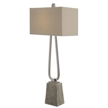 """Uttermost Carugo 37.25"""" Stained Concrete Foot Lamp in Polished Nickel"""