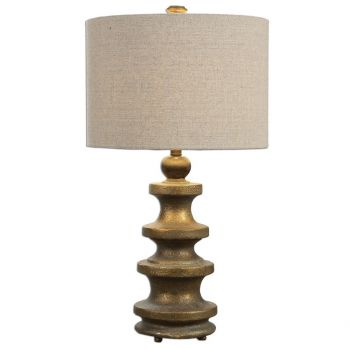 """Uttermost Guadalete 29"""" Textured Lamp in Antique Gold"""