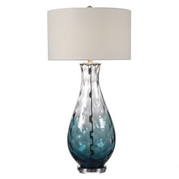 """Uttermost Vescovato 38"""" Blue Ombre Water Glass Lamp in Brushed Nickel"""