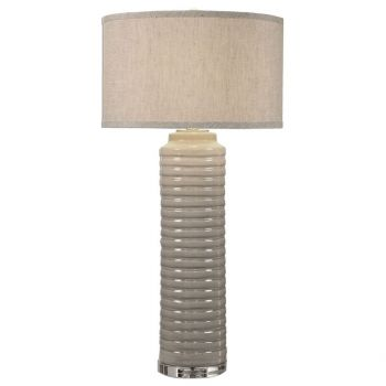 """Uttermost Yana 36"""" Ribbed Cylinder Ceramic Lamp in Warm Ivory/Gray"""