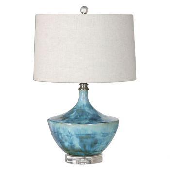 """Uttermost Chasida 23"""" Ceramic Lamp in Blue Tie Dye"""