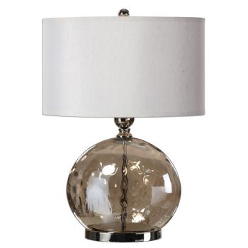 """Uttermost Piadena 27"""" Iridescent Water Glass Lamp in Polished Nickel"""