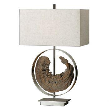 """Uttermost Ambler 29.25"""" Faux Driftwood Lamp in Polished Nickel"""