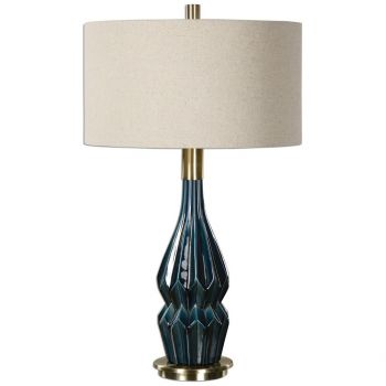 "Uttermost Prussian 31.5"" Deep Blue Ceramic Lamp in Antique Brass"
