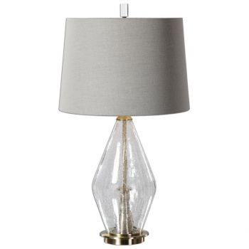 """Uttermost Spezzano 29.25"""" Clear Crackled Glass Lamp in Brushed Brass"""