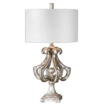 "Uttermost Vinadio 32.5"" Table Lamp in Distressed Silver Leaf"