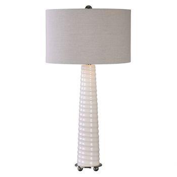 "Uttermost Mavone 32"" Spiral Ribbed Glass Table Lamp in Gloss White"