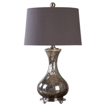 """Uttermost Pioverna 29"""" Mercury Glass Table Lamp in Brushed Nickel"""