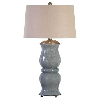 "Uttermost Cannobino 36"" Crackled Ceramic Table Lamp in Pale Blue"