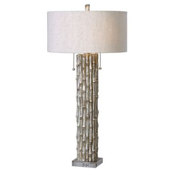 """Uttermost Silver Bamboo 32.25"""" 2-Light Table Lamp in Antique Silver"""
