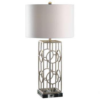 "Uttermost Mezen 30"" Iron Table Lamp in Antique Silver Leaf"