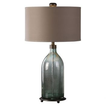 """Uttermost Massana 30"""" Seeded Gray/Olive Gray Glass Table Lamp in Bronze"""