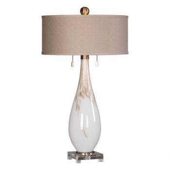 Uttermost Cardoni 2-Light Gloss White Glass Table Lamp in Brushed Brass