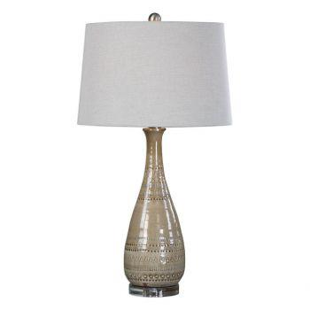 "Uttermost Nakoda 31.25"" Embossed Ceramic Lamp in Taupe"