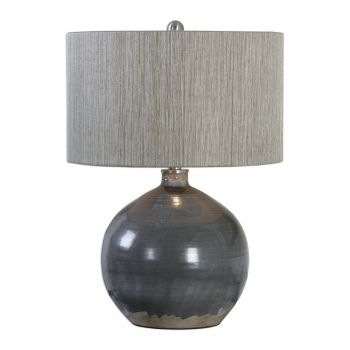 """Uttermost Vardenis 24"""" Crackled Ceramic Lamp in Charcoal Gray/Rust Brown"""