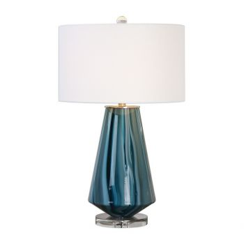 """Uttermost Pescara 29"""" Teal-Gray Glass Lamp in Brushed Nickel"""