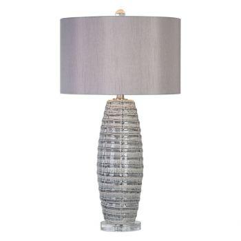 "Uttermost Brescia 30"" Crude Ribbon Pattern Lamp in Smoke Gray"