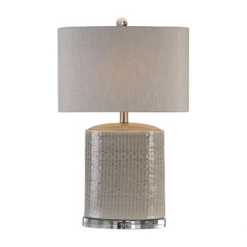 "Uttermost Modica 25.5"" Oval Ceramic Lamp in Taupe/Gray"