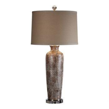 """Uttermost Reptila 33"""" Textured Ceramic Lamp in Rust Brown"""