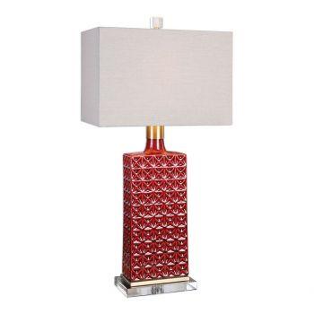 """Uttermost Alimos 32"""" Embossed Ceramic Lamp in Deep Red"""