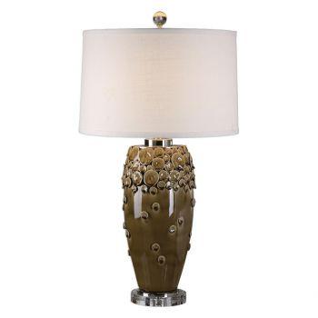 "Uttermost Zacapa 32.25"" Ceramic Table Lamp in Umber Brown"