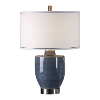 """Uttermost Sylvaine 28"""" Urn Shaped Ceramic Lamp in Blue/Gray"""