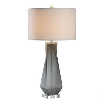 """Uttermost Anatoli 30.75"""" Charcoal Gray Glass Table Lamp in Brushed Nickel"""