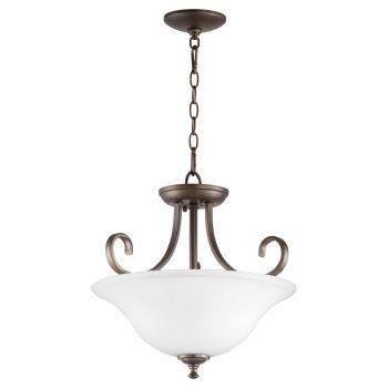 """Quorum International Celesta 2-Light 18"""" Pendant Light in Oiled Bronze with Satin Opal"""