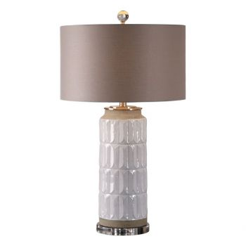 """Uttermost Athilda 30.25"""" Table Lamp in Distressed Gloss White"""