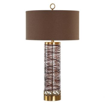 """Uttermost Seaver 32.75"""" Chocolate Spun Glass Table Lamp in Antique Brass"""