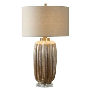 """Uttermost Gistova 29.75"""" Ribbed Table Lamp in Ivory/Rust Brown"""