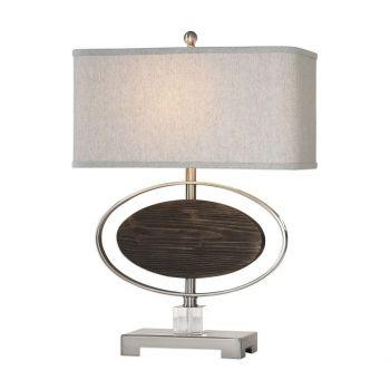 """Uttermost Malik 26.5"""" Wood Oval Lamp in Rubbed Espresso"""