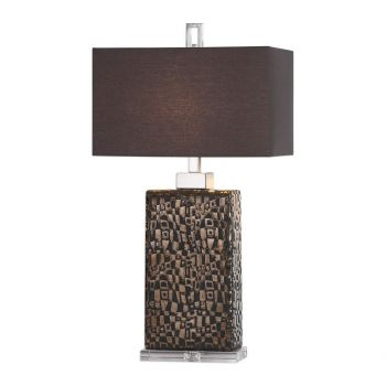 """Uttermost Olavo 30.25"""" Etched Abstract Lamp in Metallic Dark Bronze"""