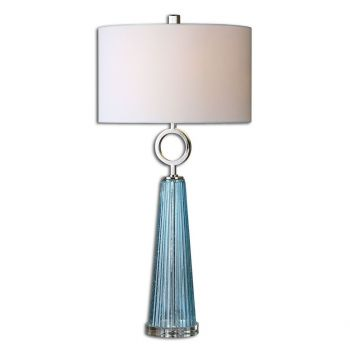 """Uttermost Navier 34"""" Seeded Blue Glass Table Lamp in Polished Nickel"""