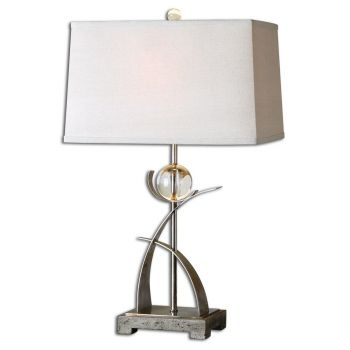 """Uttermost Cortlandt 27.5"""" Curved Metal Table Lamp in Antique Silver"""