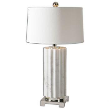 "Uttermost Castorano 30.75"" Scalloped Lamp in White Marble"